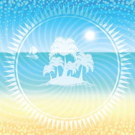 gentle dream vacation: Sand beach and small island with palms in the open sea in the circle frame. Vector illustration.