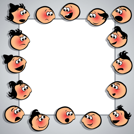 krill: Frame with faces with diferent expressions. Vector illustration.