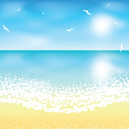gentle dream vacation: Sand beach at sunset time. Vector illustration.