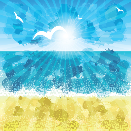 sand beach: Sand beach at sunset time. Vector illustration.