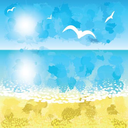 beach sunset: Sand beach at sunset time. Vector illustration.
