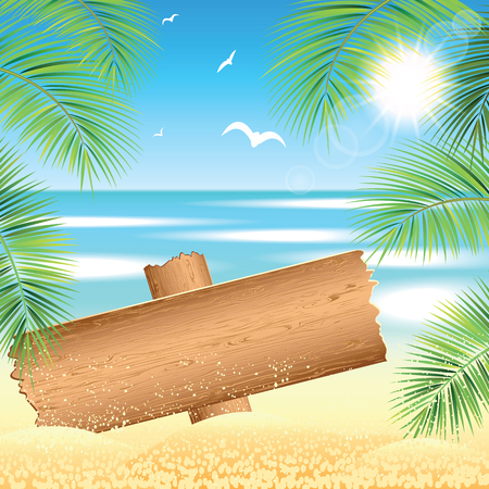 sand beach: Wooden board on the sand beach the the palm branches at sunset time. Vector illustration. Illustration