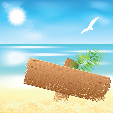 sea mark: Wooden board on the sand beach with the palm branch at sunset time. Vector illustration. Illustration