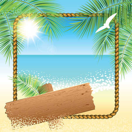 sand beach: Rope frame, wooden board on the sand beach background. Vector illustration. Illustration