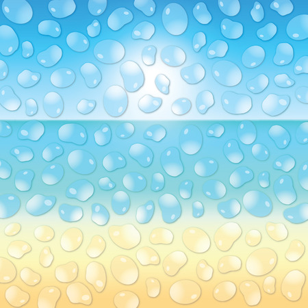 gentle dream vacation: Water drops on the glass on the sand beach background. Vector illustration.