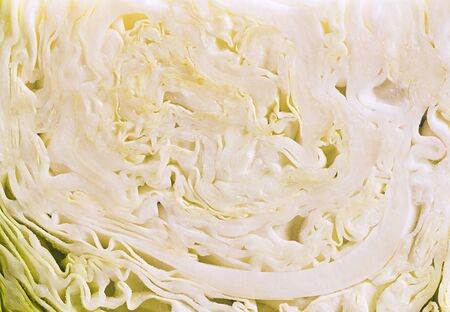 Cabbage cut with knife.