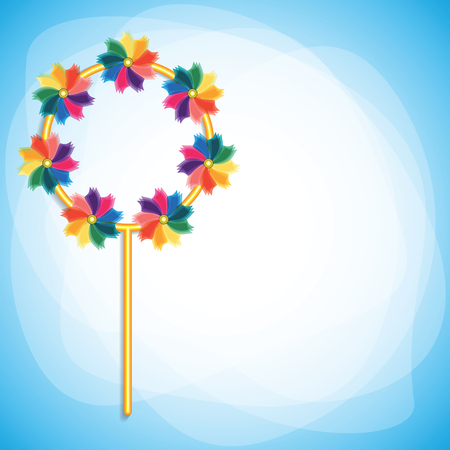 spinning windmill: Colorful windmills on blue-white background. Vector illustration.
