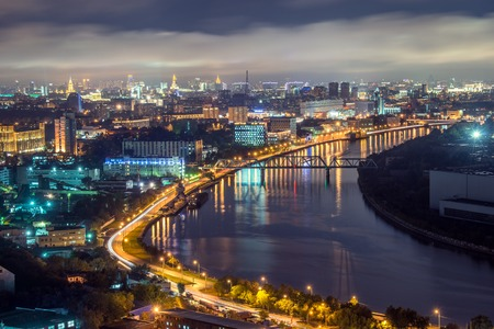 View of Moscow river in the city at nigt time. Russia. Imagens