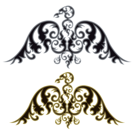 Pair of eagle silhouettes on white background. Vector illustration. Illustration