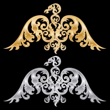 pair: Pair of eagle silhouettes on black background. Vector illustration.