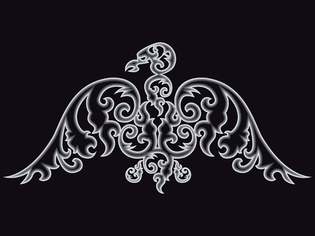 curve claw: Eagle silhouette on black background. Vector illustration.