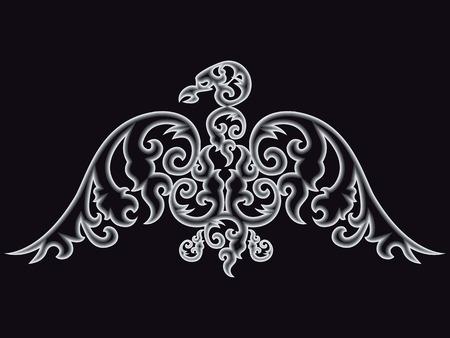 silhouette aquila: Eagle silhouette on black background. Vector illustration.