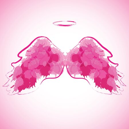 nimbus: Angel nimbus and wings on colorful background. Vector illustration.