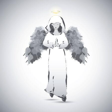 nimbus: Angel image on monochrome background. Vector illustration.