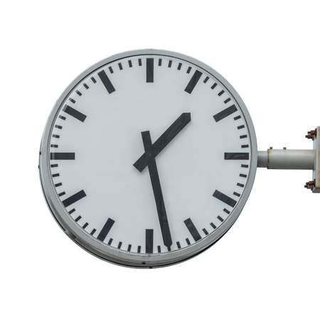 Railway station clock isolated on white background.