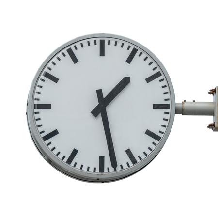 Railway station clock isolated on white background.