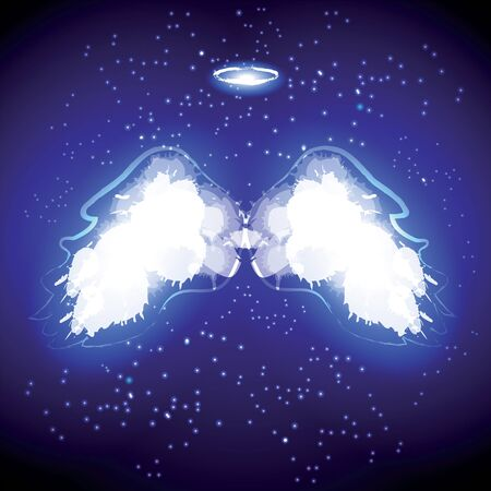 black wings: Angel nimbus and wings on black background. Vector illustration.