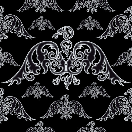 curve claw: Eagle silhouettes on black background. Seamless pattern. Vector illustration.
