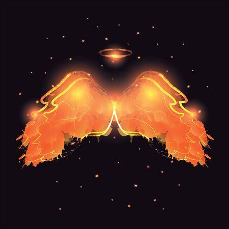 dark elf: Angel nimbus and wings on black background. Vector illustration.