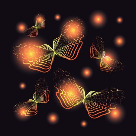 firebug: Flying orange butterflies in the darkness. Vector illustration.