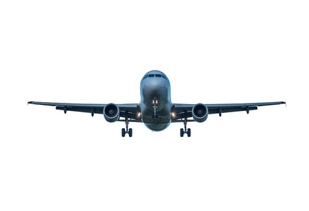 Landing passenger plane isolated on white background.