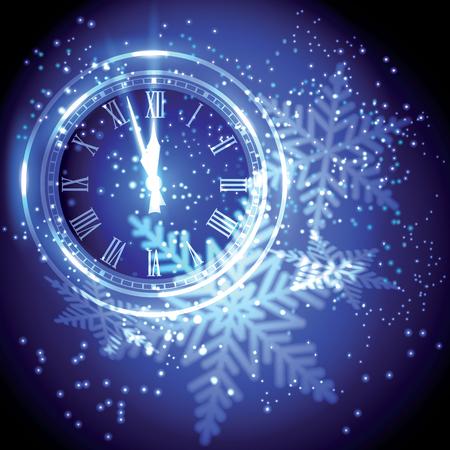 reloj: las luces del reloj de fiesta pasado en Nuevo año medianoche. Vectores