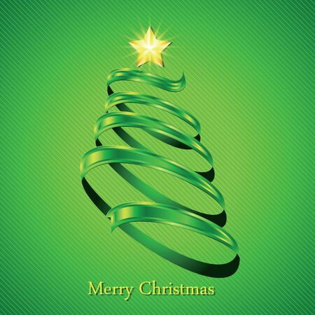 fir tree: Christmas fir tree silhouette made from green twisted tape. Vector illustration.