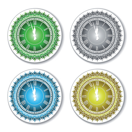 midnight hour: Set of isolated colorful wall clock. Vector illustration.