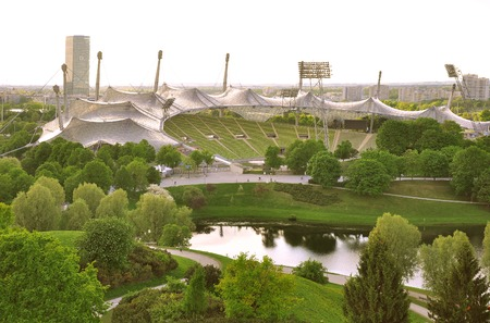 olympics: Munich, Germany - May 07, 2012: Stadium of the Olympiapark. Olympic Park in Munich was constructed for the 1972 Summer Olympics.