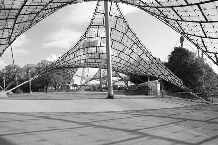 summer olympics: Munich, Germany - May 07, 2012: Entrance to the stadium of the Olympiapark. Olympic Park in Munich was constructed for the 1972 Summer Olympics.