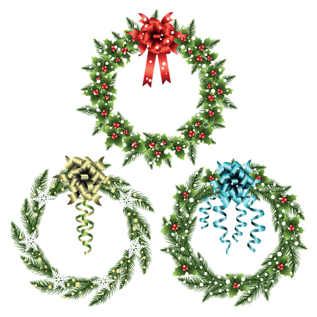 coronas navidenas: Set of christmas wreaths with decorations isolated on white background. Vector illustration.