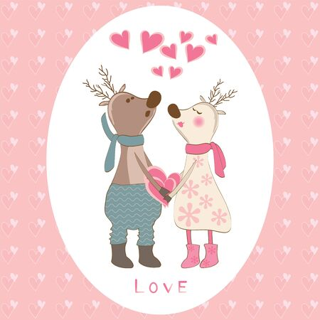 cute love: Pair of deers at Valentines day. Vector illustration.