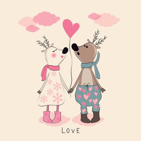 pair: Pair of deers at Valentines day. Vector illustration.
