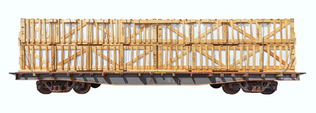 consignment: Loaded freight carriage isolated on white background.