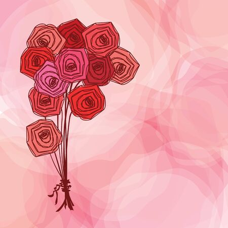 Bouquet of red roses on pink abstract background. Vector illustration. Illustration