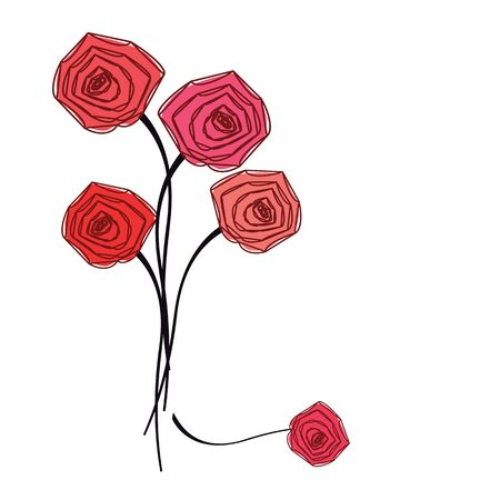 sepal: Bouquet of red roses on white background. Vector illustration. Illustration