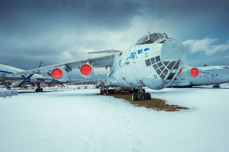 turbojet: Monino, Moscow Region, Russia - February 05, 2016: IL - 76MD - Military transport aircraft, built in 1971. Open-air exposition in Central Museum of the Russian Air Force. Editorial