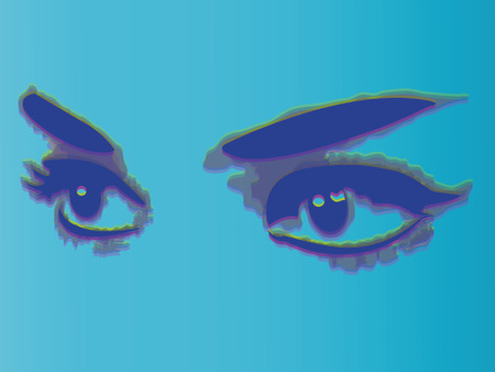 human eye close up: Woman eyes isolated on blue background. Vector illustration. Illustration