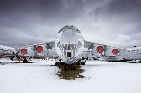 Monino, Moscow Region, Russia - February 05, 2016: IL - 76MD - Military transport aircraft, built in 1971. Open-air exposition in Central Museum of the Russian Air Force. Editorial