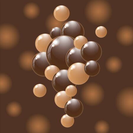 weightlessness: White and dark chocolate balls on colorful background. Vector illustration.