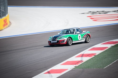superleggera: Sochi, Russia - May 11, 2015: Training races of the Mazda racing car on the autodrom.