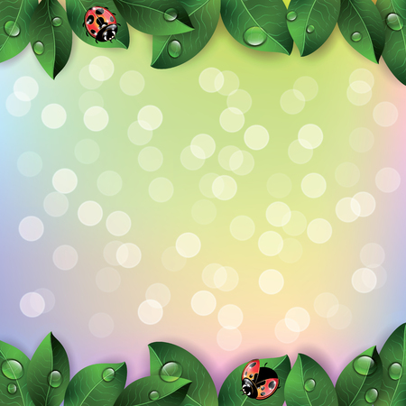 morning dew: Red ladybugs and green leaves on colorful background. Vector illustration. Illustration