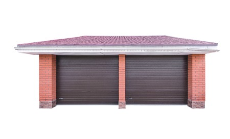 suburbia: Facade of the private garage isolated on white background.