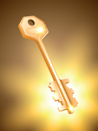 golden key: Golden key on colorful background. Vector illustration.
