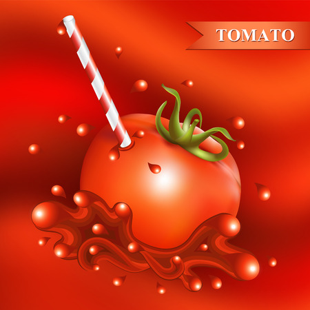 tubule: Red fresh tomato with tubule on abstract red background.