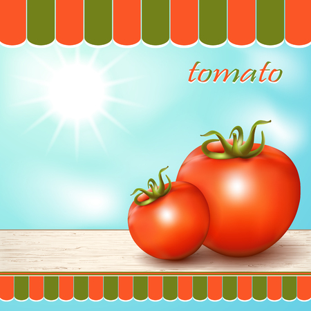 windowsill: Red fresh tomatoes on the table by the window.