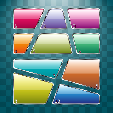 diferent: Set of colorful plates on abstract background.