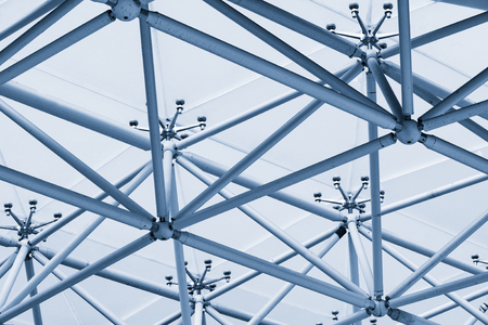 metal structure: Roof structure made from plastic and metal. Stock Photo