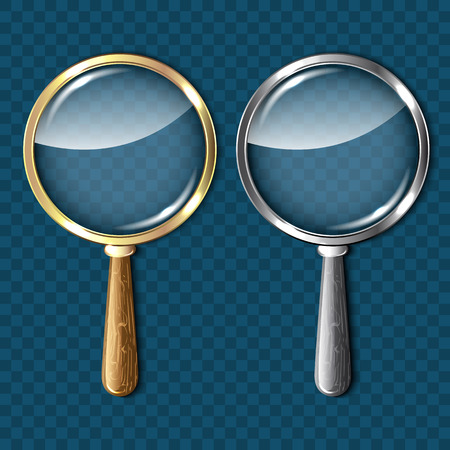 pair of glasses: Pair of magnifying glasses on blue background.