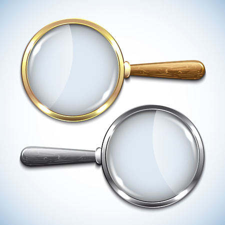 pair of glasses: Pair of magnifying glasses isolated on white.